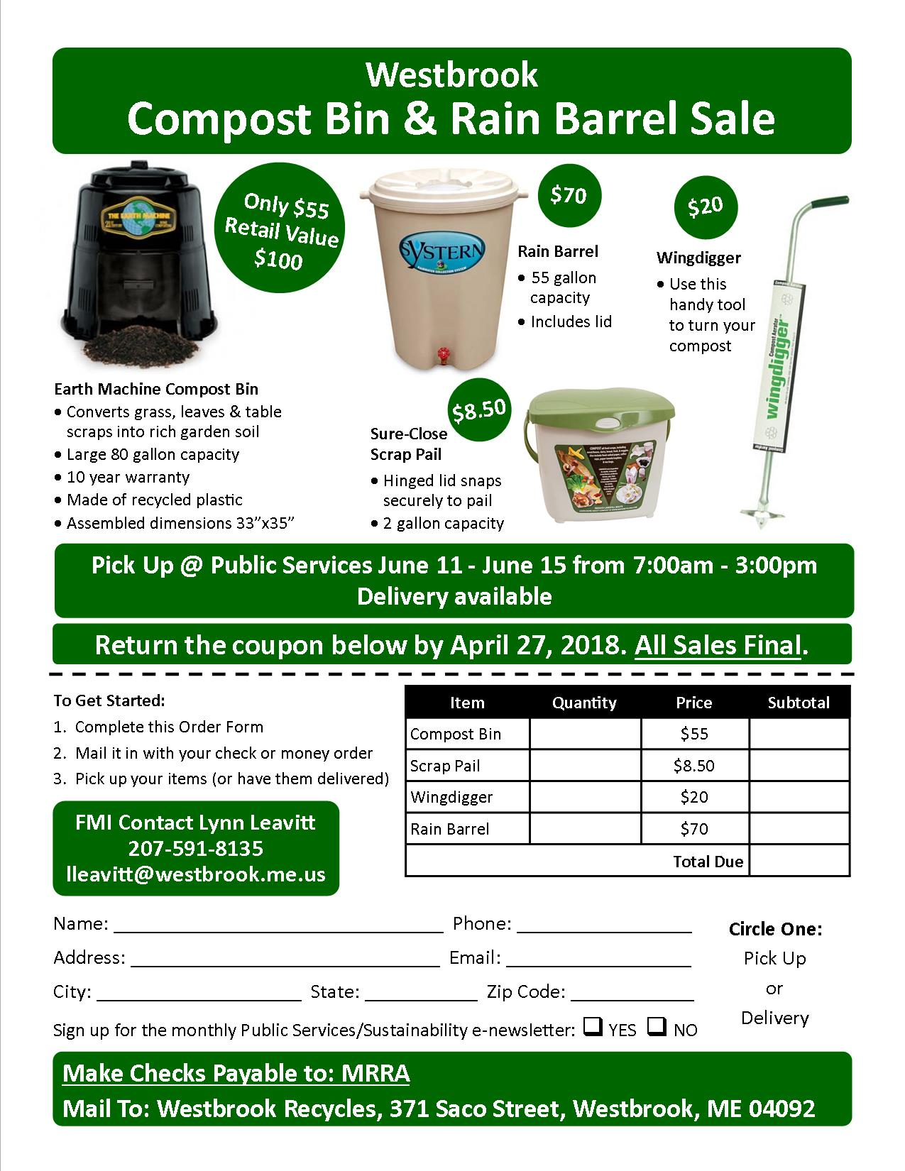 2018 Westbrook Compost Order Form
