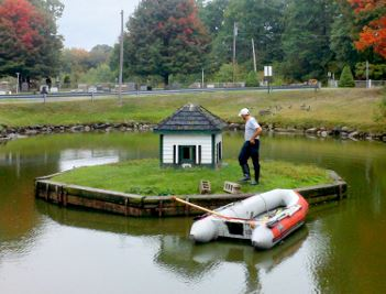 Public Services crew member performing duck house maintenance on an island in the middle of the pond