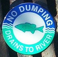 No Dumping Drains to River
