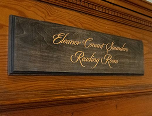 Eleanor Conant Saunders Reading Room Sign
